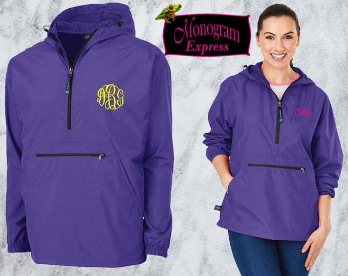 Monogrammed Quarter Zip Pullover Jacket | Personalized Adult Unisex Raincoat | Lightweight Hooded Quarter Zip Windbreaker | Purple Pack-N-Go