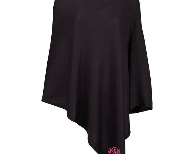 Monogrammed Poncho | Personalized Ladies Poncho | Fall Winter Bridesmaid | Bridal Party | Acrylic Outer Garment | Chelsea One Size Poncho