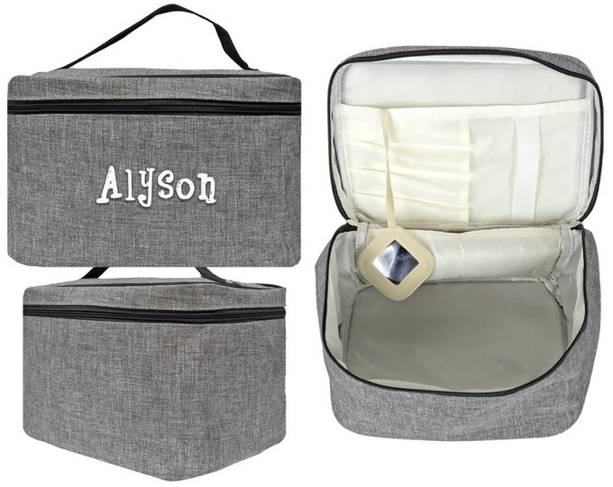 Personalized Cosmetic Bag   Monogrammed Makeup Bag   Wedding Party Gift   Unisex Toiletry Bag   Travel Toiletry Case   Large Gray Cosmetic