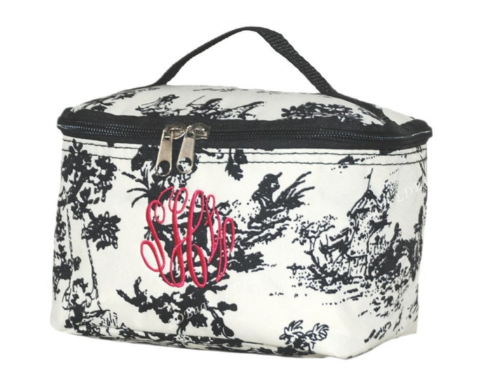 Monogram Make Up Bag   Personalized Cosmetic Bag   Small Cosmetic Bag   Toiletry Bag   Cosmetic Case   Makeup Organizer   Toile Black Mini