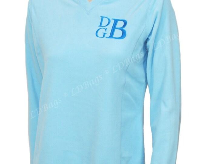 Personalized Fleece Pullover | Monogram Fleece | Monogram V-Neck Pullover | Personalized Fleece Sweatshirt | Periwinkle Blue Pullover Medium