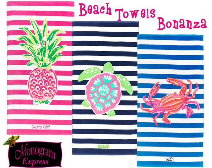 Personalized Beach Towels | Pool Towels | Monogrammed Towels | Stripped Towels | Customized Towels | Crab Pineapple Turtle Beach Towels