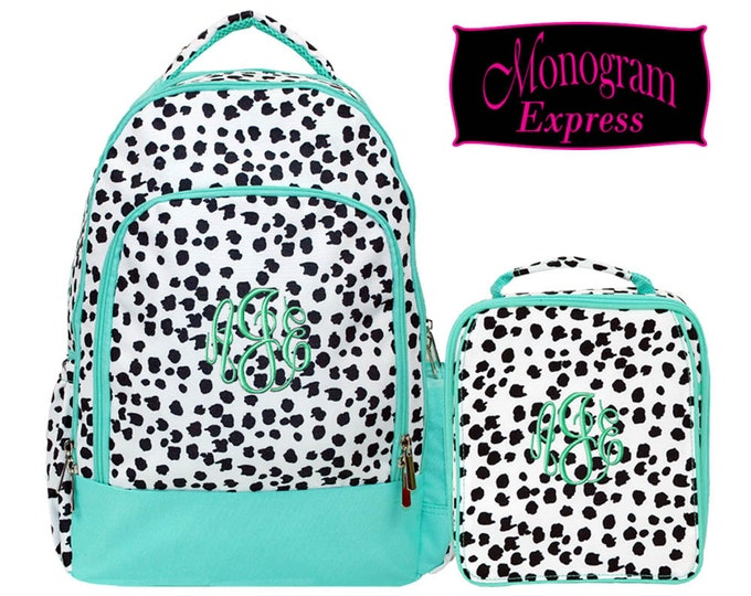 Personalized Spotty Dog Print Backpack Lunch Box Matched Set | Monogrammed Laptop Backpack Insulated Lunch Bag Combo | Spotty Dog Mint Combo