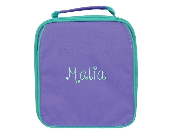Monogrammed Lunch Bag | Personalized Lunch Bag | Insulated School Lunch Bag | Kid Lunch Bag | Girls Lunch Bag | Purple Mint Trim Lunch Bag
