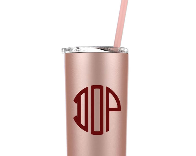 Personalized Tumbler | Custom Vinyl | Bridesmaid Proposal Gift Cup | Destination Wedding | 12 Oz Skinny Mini Stainless Tumbler with Straw