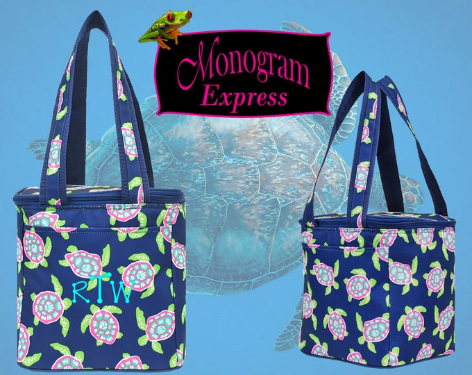 Personalized Cooler | Insulated Drink Tote | Beach Cooler | Monogrammed Thermal Cooler | Work Lunch Bag | Turtle Insulated Lunch Cooler