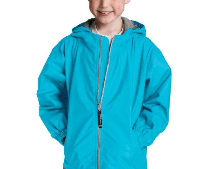 Monogrammed Waterproof Rain Jacket | Full Zip Rain Jacket | Personalized Youth Unisex Hooded Rain Coat | Youth Rain Jacket Blue Wave S-XL