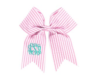 Personalized Cheer Bow | Custom Girls Hair Bow | Pink Girls Hair Bow | Custom Cheer Bow | Monogrammed Cheerleader Bow | Pink Seersucker Bow