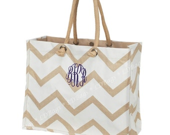 Personalized Jute Tote   Monogrammed Shoulder Bag   Top Handle Tote   Eco-Friendly Juco   Personalized Gift   Beige White Chevron Jute Tote