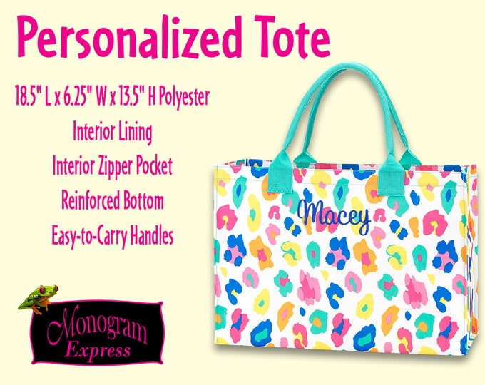 Personalized Colorful Leopard Tote | Everything Tote | Ladies Pool Tote | Girls Carry All Bag | Dance Tote | Bridesmaid Bag | Fun Leopard