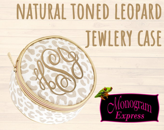 Personalized Natural Leopard Jewelry Case | Monogrammed Travel Jewelry Case | Bridesmaid Gift | Graduation Gift | Round Jewelry Case