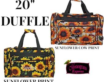 "Monogrammed Duffle Bag   Personalized Duffel   Overnight Bag   Travel Bag   Womens Weekender Bag   Sunflower Cow    Sunflower Duffel 20"""