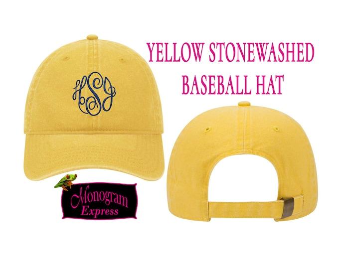 Personalized Baseball Hat | Monogrammed Baseball Hat | Bridesmaid Hat | Golf Hat | Baseball Cap | Sun Hat | Yellow Stonewashed Baseball Hat