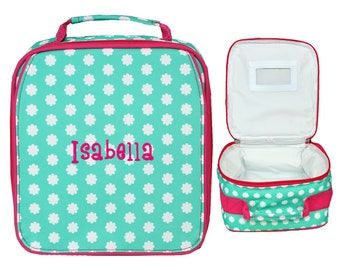 Monogrammed SCHOOL LUNCH BAG   Insulated Lunch Bag   Personalized Girls Lunch Bag   Kid Lunch Bag   Hadley Bloom With Pink Trim Lunch Bag