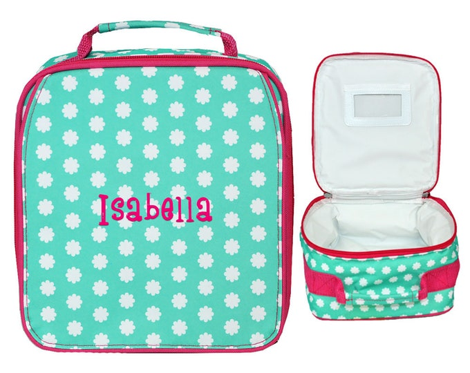 Monogrammed School Lunch Box | Insulated Lunch Bag | Personalized Girls Lunch Bag | Cold Lunch Bag | Hadley Bloom With Pink Trim Lunch Bag