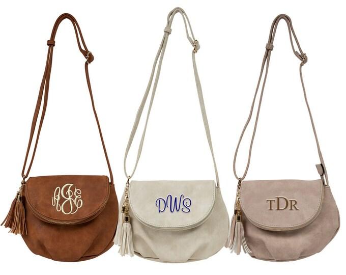 Personalized Crossbody Bag | Over Shoulder Bag | Purse | Shoulder Bag | Adjustable Strap Purse | Vegan Leather Crossbody Handbag with Tassel