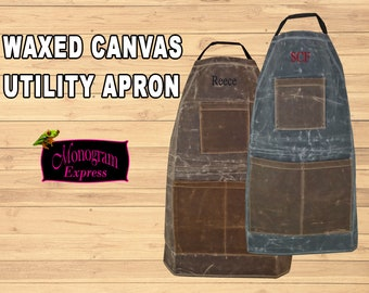 Personalized Utility Apron   Men's Waxed Apron   Stone Waxed Apron   Brown Apron   Heavy Duty Apron   Father's Day Gift   Groomsmen Gift
