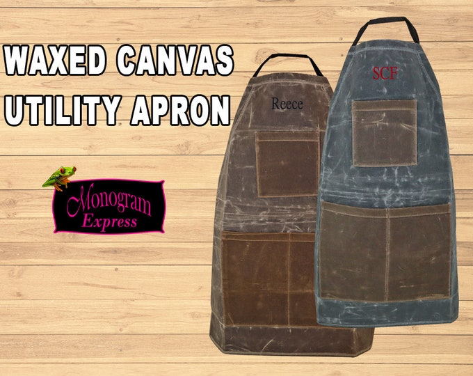 Personalized Utility Apron | Men's Waxed Apron | Stone Waxed Apron | Brown Apron | Heavy Duty Apron | Father's Day Gift | Groomsmen Gift