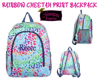 Rainbow Cheetah Backpack | Personalized Girls Backpack | Rainbow Book-bag | Teacher Backpack | Back to School Supplies | Cheetah Print Bag
