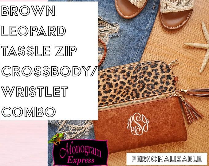 Crossbody Wristlet Combo | Wristlet Purse | Faux Leather Mini Purse | Everyday Crossbody | Monogrammed Purses | Brown Leopard Tassle Purse