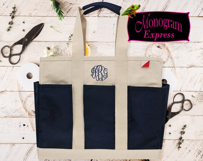 Personalized 8 Pocket Heavy Canvas Utility Bag | Monogrammed Multi Use Tote | Cotton Canvas Diaper Bag | 8 Pocket Navy Canvas Utility Tote