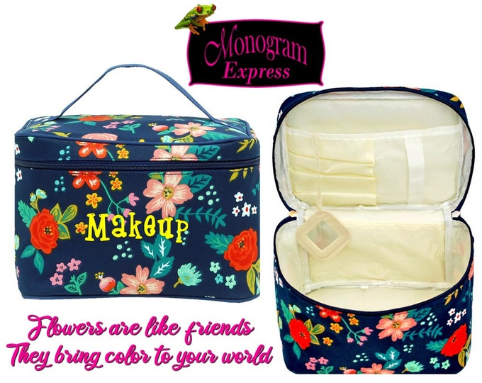 Personalized Cosmetic Bag   Monogrammed Makeup Bag   Bridesmaids Gift   Toiletry Bag   Travel Makeup Case   Poppies Large Cosmetic Bag
