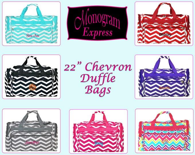 "Monogrammed Duffle Bag   Personalized Duffel   Overnight Bag   Travel Bag   Cheer Mom Duffle   Girls Duffle   Teen Gift   Chevron Duffle 22"""