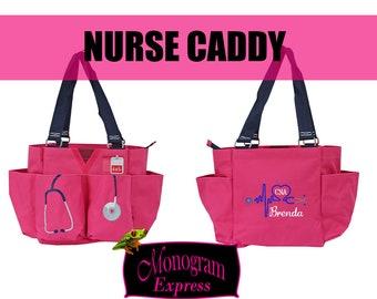Personalized Nurse Utility Bag   Pink Nurse Caddy   Monogrammed Nurse Bag   Nurse organizer Tote   Heart Stethoscope   Pink Medical Caddy