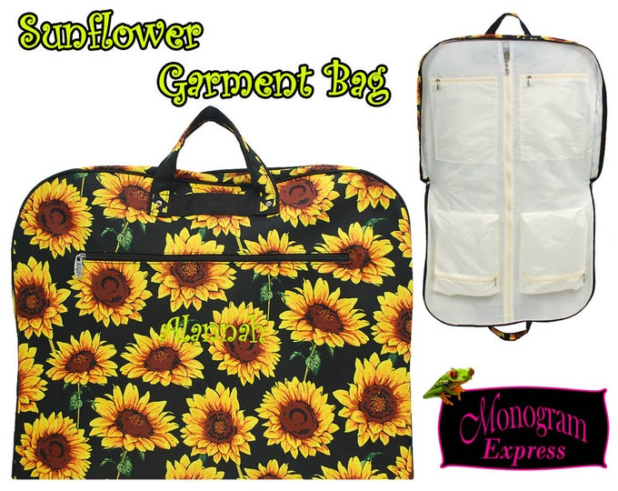 Monogrammed Sunflower Garment Bag | Personalized Hanging Clothes Bag | Overnight Travel Bag | Embroidered Womens Dress Bag | Sunflower