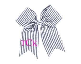 Personalized Hair Bow | Monogrammed Hair Bow | Seersucker Navy Hair Bow | Custom Cheer Bow | Monogrammed Cheer Bow | Navy Seersucker Bow