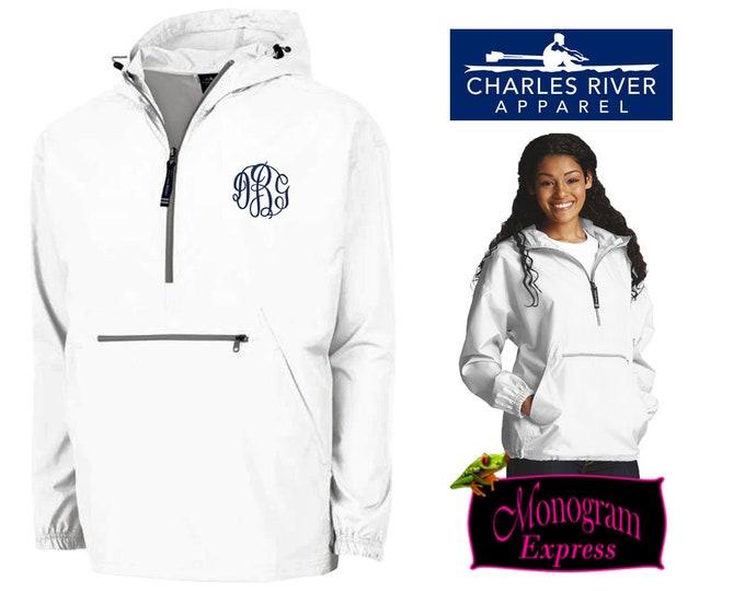 Monogrammed Quarter Zip Pullover Jacket | Personalized Adult Unisex Raincoat | Lightweight Hooded Quarter Zip Windbreaker | White Pack-N-Go