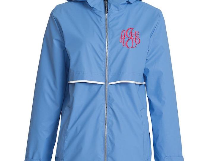 Monogrammed Womens Rain Jacket | Personalized Ladies Rain Coat | Hooded Mesh Lined Full Zip Reflective Trim | Rain Slicker | Periwinkle Grey