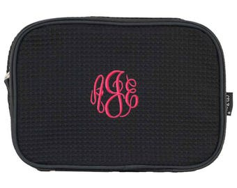 Personalized Cosmetic Bag   Monogrammed Cosmetic Case   Custom Makeup Bag   Travel Organizer   Black Waffle Weave Double-Zip Cosmetic Large