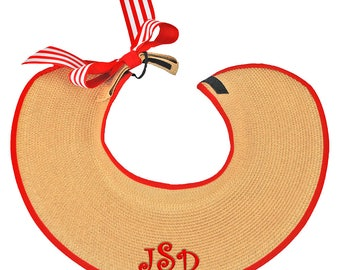 Personalized Roll Up Visor   Wide Brim Visor   Visor With Bow   Monogrammed Sun Hat   Summer Hat   Red Visor With Bow   Navy Visor With Bow
