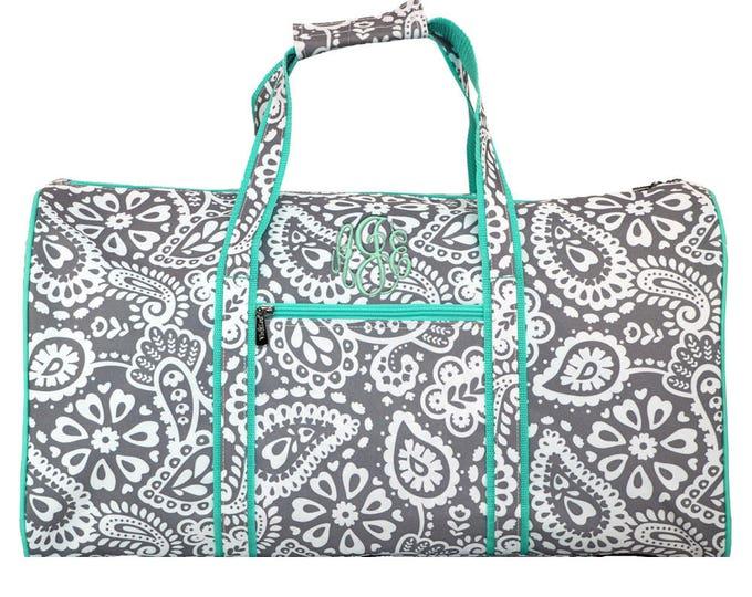 Monogrammed Duffle   Personalized Duffel   Girls Overnight Bag   Women Travel Bag   Weekend Duffle   Birthday Gift   Parker Paisley Round 21