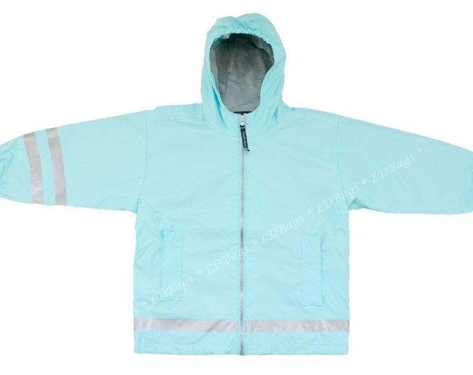 Monogrammed Childrens Rain Jacket | Personalized Kid's Raincoat | Girls Aqua Rain Jacket | Boys Aqua Rain Coat | Aqua Rain Coat 4-7