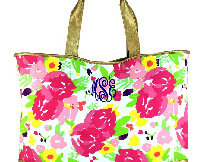 Monogrammed Pink Floral Tote Bag | Womens Large Tote | Oversized Large Carry All Tote Bag | Floral Cabana Large Tote Bag with Gold Trim