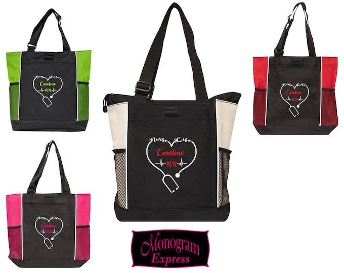 Personalized Nurse Bag | Vinyl Nurse Bag | Nurse Graduation Gift | Custom Vinyl Gift Tote | Nurse Gift | Nurse Life Bag | Two-Color Tote Bag