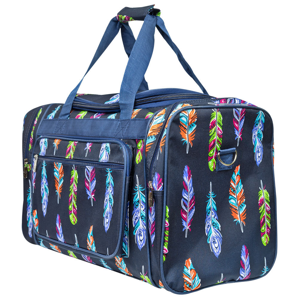 Monogrammed Duffle Bag Personalized Duffle Bag Overnight Duffle Bag Girls Duffle  Bag Monogram Duffel Bag Navy Blue Rainbow Feathers 20