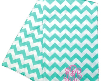 Womens Mint Chevron Infinity Scarves   Monogrammed Scarf   Personalized Infinity Scarf   Continuous Loop Scarf   Mint Chevron Infinity Scarf