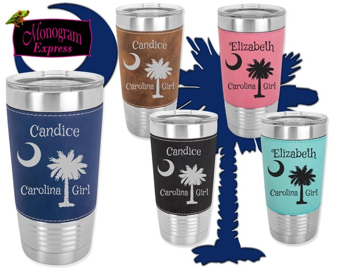 Personalized South Carolina Girl Leatherette 20 OZ Laser Etched Insulated Tumblers | Customized SC Palmetto Stainless Steel Cups