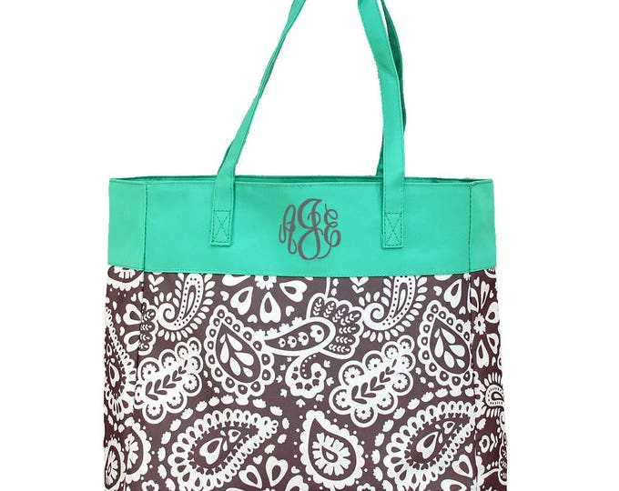 Large Monogrammed Tote bag | College Tote Bag | Beach bag | Grocery Bag | Personalized Travel Bag | Parker Paisley Grey With Mint Trim Tote