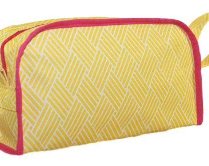 Personalized Cosmetic Bag   Monogrammed Make up Case   Travel Organizer Bag    Bridesmaid Gift   Basket Weave Yellow Pink Trim Cosmetic Bag