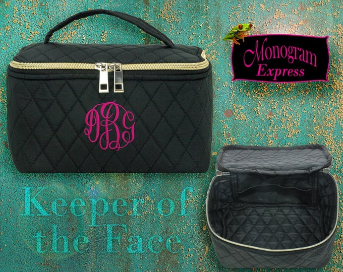 Personalized Cosmetic Bag   Monogrammed Black Toiletry Bag with Gold Zipper   Bridal Party Gift   Black Quilted Overnight Travel Make-Up Bag