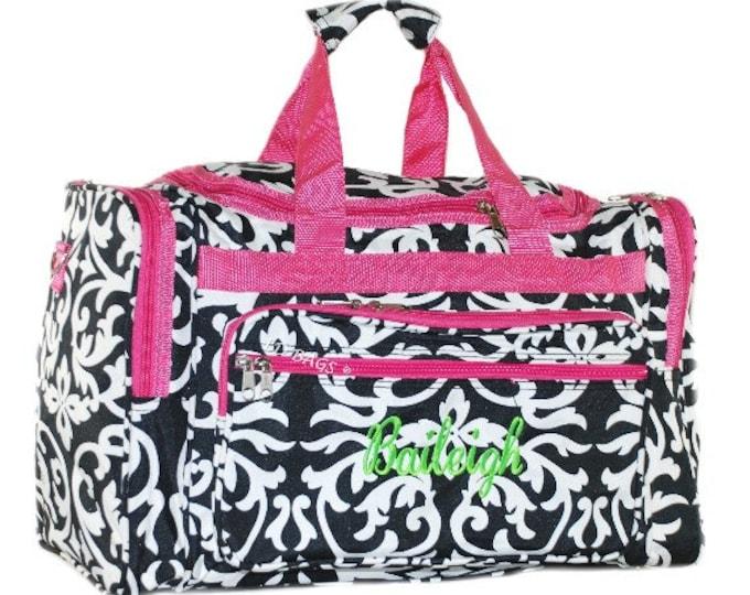 "Monogrammed Duffle   Personalized Girl Duffel   Travel Damask Duffle   Bridesmaid Gift   Cheer Team Bag   Dance Duffel   Damask 19"" Duffle"