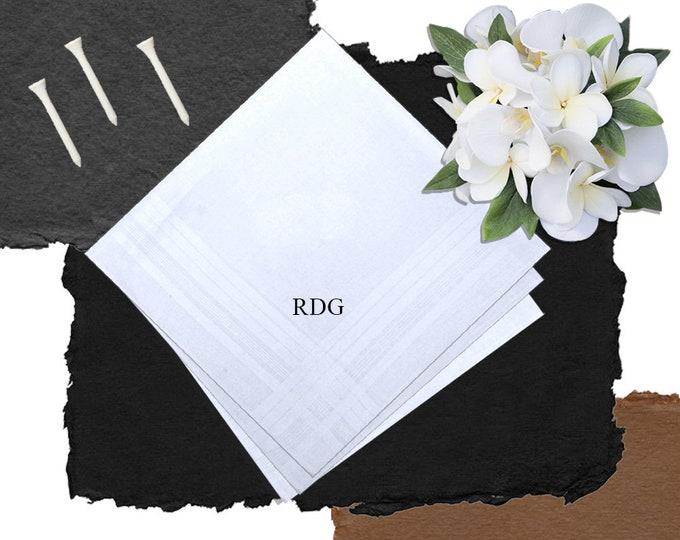 Monogrammed Men's Handkerchiefs - Set of 3 | Groomsmen Gift | Father's Day Gift | Graduation Gift | Large Personalized Handkerchiefs 3 EA