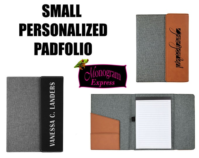 Personalized Padfolio | Professional Small Notepad | Black Portfolio Pad | Rawhide Padfolio | Laserable Leatherette Padfolio | 7X9 Work Pad