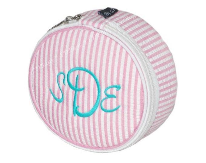 Personalized Seersucker Jewelry Case   Monogrammed Cosmetic Travel Bag   Bridesmaid Gift   Zipper Travel Bag   Pink Seersucker Jewelry Case