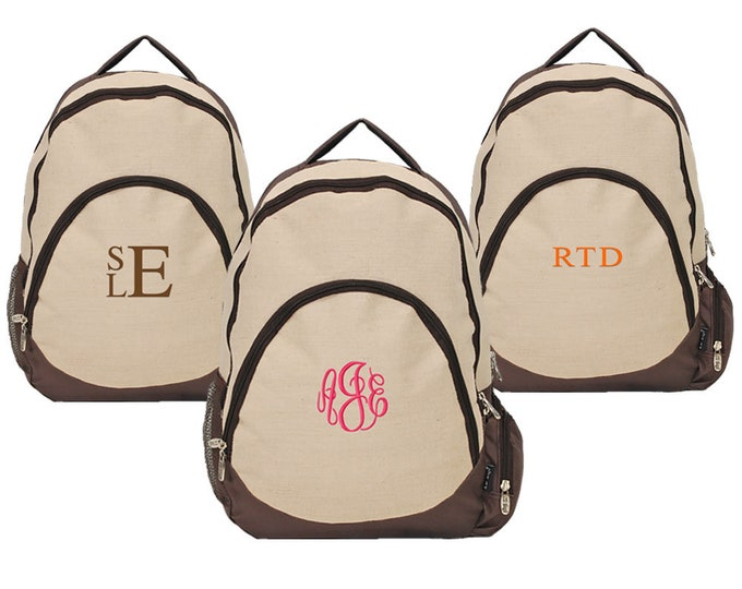 Personalized Mens Laptop Backpack | Monogrammed Unisex Computer Book Bag | College Student Brown Lightweight Backpack | Natural Juco Bookbag