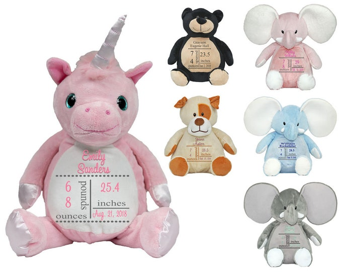 Monogrammed Stuffed Animals   Birth Announcement   Custom Baby Gift   Newborn Gift   Birthday Gift   Birth Stats   Unisex Stuffed Animals